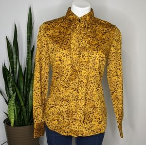 NY&Co yellow & brown ruffle button up S
